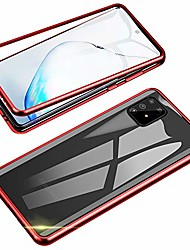 cheap -compatible with samsung galaxy a91 / s10 lite case,  360 degree front and back transparent tempered glass cover, strong magnetic adsorption technology metal bumper for samsung a91 (red)
