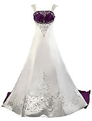 cheap -women's straps vintage satin wedding dress size 20 white purple