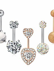 cheap -5pcs per set stainless surgical steel belly button rings navel rings barbells studs with cz/marble stone/love heart 14g body piercing jewelry for women girls silver rose gold