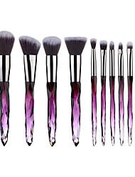 cheap -10Pcs Makeup Brushes Set Multicolored Crystal Makeup Brush Crystal Glass Rod Set Gradual Acrylic Handle Blush Brush Beauty Dressing Tool
