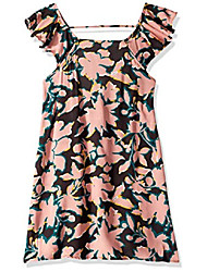 cheap -girls' little printed with ruffle trimmed straps dress, soft breeze pink geo flower, 06