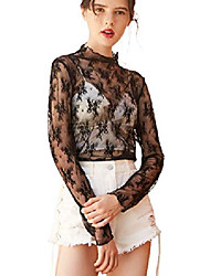 cheap -women long sleeve mesh see through top sexy floral lace sheer shirt blouse black 3xl