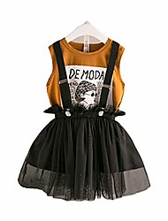 cheap -little girls tulle tutu skirt & printed tank/baby girls strap skirt sets gray