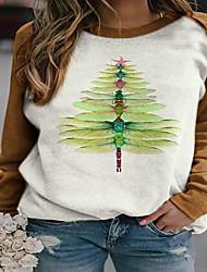 cheap -Women's Pullover Sweatshirt Christmas Tree Christmas Christmas Hoodies Sweatshirts  Red Khaki Green