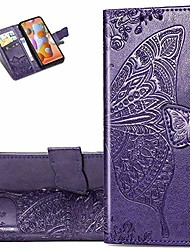 cheap -galaxy a11 case stylish advanced embossing wallet case credit cards slot with stand for pu leather shockproof flip magnetic case for samsung galaxy a11 butterfly purple sd