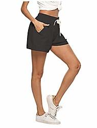cheap -womens casual solid drawstring elastic waist comfy cotton linen shorts (xx-large,black)