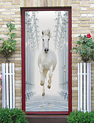 cheap -White Horse Self-adhesive Creative Door Stickers Living Room DIY Decorative Home Waterproof Wall Stickers