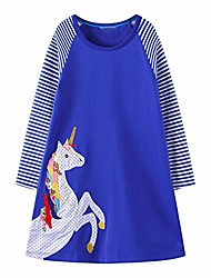 cheap -toddler girl royal blue unicorn cotton dress stripe long sleeve christmas basic shirt dress