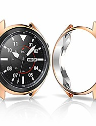 cheap -samsung galaxy watch 3 45mm case,soft tpu plated smooth cover scratch-proof protector frame samsung galaxy watch 3 45mm protective smartwatch sm-r840 bumper,rose gold