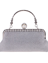 cheap -Women's Bags Polyester Alloy Evening Bag Crystals Flower Rhinestone Flower Wedding Bags Wedding Party Black Gold Silver