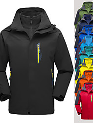 cheap -Men's Hoodie Jacket Hiking Jacket Hiking 3-in-1 Jackets Winter Outdoor Solid Color Thermal Warm Lightweight Windproof Breathable Jacket Top Fleece Single Slider Camping / Hiking Hunting Ski