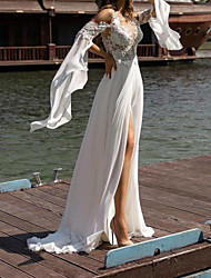 cheap -Sheath / Column Wedding Dresses V Neck Court Train Chiffon Lace Long Sleeve Beach with Split Front 2020