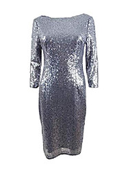 cheap -women's sequined sheath cocktail dress silver size 10p