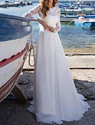 cheap -A-Line Wedding Dresses Jewel Neck Court Train Chiffon Lace Long Sleeve Beach with 2021