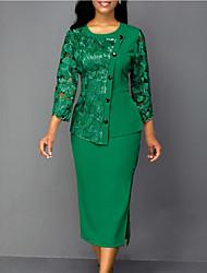 cheap -Women's Shift Dress Knee Length Dress Blue Wine Green Long Sleeve Print Solid Color Mesh Lace Print Fall Winter Round Neck Formal 2021 S M L XL XXL 3XL 4XL 5XL