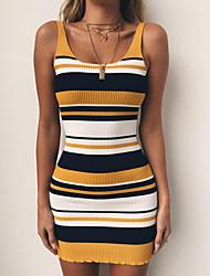 cheap -Women's Sweater Jumper Dress Short Mini Dress - Sleeveless Striped Print Summer Sexy Slim 2020 Red Yellow S M L XL