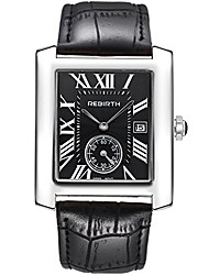 cheap -classic rectangle case vintage watches fashion girl leather band strap wrist watch for women (silver black)