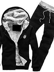 cheap -men's fleece lined hooded jacket thicken strings sweatsuit set black x-large
