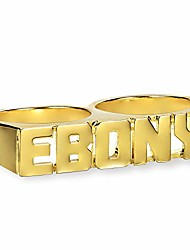 cheap -personalized birth year number name rings customized name two fingers rings 18k gold-plated for women