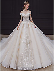 cheap -Ball Gown Wedding Dresses Off Shoulder Chapel Train Organza Sleeveless Formal Romantic with Beading Appliques 2020
