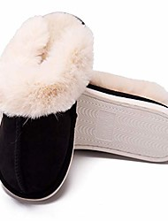 cheap -women/mens slippers, scuff fluff house shoes, slip-on indoor outdoor scuff slipper for winter (black, numeric_10)