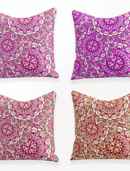 cheap -Cushion Cover 4PCS Linen Soft Decorative Square Throw Pillow Cover Cushion Case Pillowcase for Sofa Bedroom 45 x 45 cm (18 x 18 Inch) Superior Quality Mashine Washable Beauty Floral