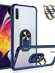 cheap -galaxy a50/a50s/a30s case with hd screen protector,  [military grade] crystal clear transparent hard pc tpu phone case with ring car mount kickstand for samsung galaxy a50/a50s/a30s blue