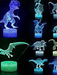 cheap -3D Illusion LED Lamp Dinosaur 7 Color LED Night Light Christmas Decoration Animal Night Light Touch Sleeping Night Light Table Bedside Lamp Raptor Tyrannosaurus Pterodactyl for Baby Kids Gift
