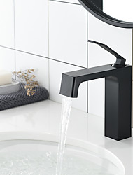 cheap -Bathroom Sink Faucet - Unique Hot Cold Single Lever Deck Mounted Black Wash Basin Faucet Shower Room Centerset Single Handle One Hole Bath Toilet Vessel Sink Mixer Taps