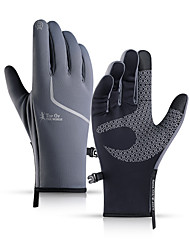 cheap -Winter Bike Gloves / Cycling Gloves Touch Gloves Anti-Slip Reflective Waterproof Windproof Full Finger Gloves Sports Gloves Fleece Black / Orange Black Grey for Adults' Outdoor Exercise Cycling / Bike