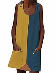 cheap -3d dresses for women, sleeveless tunic dress color match tube plus size dress summer holiday casual dress shirts s-5xl yellow