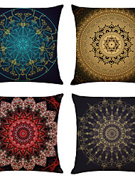 cheap -Cushion Cover 4PCS Linen Soft Mandala Square Throw Pillow Cover Cushion Case Pillowcase for Sofa Bedroom Superior Quality Machine Washable