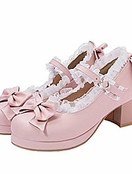 cheap -women kawaii lolita shoes mid block heel mary jane rockabilly pumps with bow, size 6 m us,pink