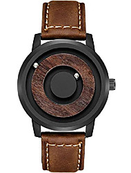 cheap -men's unique fashion watch magnetic wood watches business rolling ball dial cool casual new sport outdoor quartz watch gifts