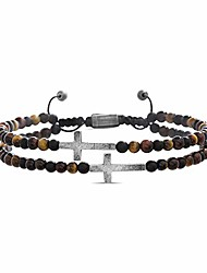cheap -cross station double strand brown beaded adjustable bracelet for men (brown), one size (smbs606861ox-tgm)