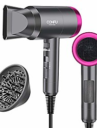 cheap -hair dryer for travel&home, 1600w lightweight negative ionic hair blow dryer, 3 heat settings, cool settings, diffuser and concentrator nozzles (gray)