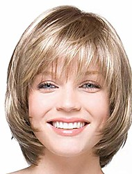 cheap -bob wig blonde wig short straight bobbi boss wigs synthetic high temperature fiber wig with bang for women (rose gold)
