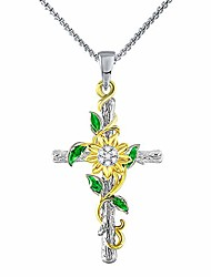 cheap -sunflower cross pendant necklace you are my sunshine jewelry adjustable 18-20 inches blessings birthday gifts necklace for women daughter wife