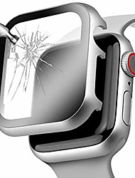 cheap -for apple watch cover 44mm with screen protector series 5 / 4, full protection aluminium metal apple watch case face cover bumper with hd temper glass for iwatch series 5 4 (silver, 44 mm)