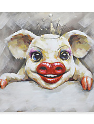cheap -Animal Oil Painting On Canvas Dance Pig Abstract Contemporary Art Wall Paintings Handmade Painting Home Office Decorations Canvas Wall Art Painting Rolled Canvas No Frame Unstretched