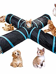 cheap -4 way cat tunnel, large indoor outdoor collapsible pet toy crinkle tunnel tube with storage bag for cat, dog, puppy, kitty, kitten, rabbit #81266