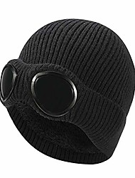 cheap -winter warm knitted beanie hat, windproof thermal soft fleece lining skiing hiking running beanie with detachable goggles, slouchy thick skull cap for men women adults outdoor sport