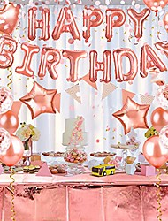 cheap -birthday balloons party decorations, happy birthday banner decor, pink and gold ballons for birthday party supplies set 60pcs