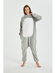 cheap -Kid's Adults' Kigurumi Pajamas Mouse Onesie Pajamas Flannel Fabric Gray Cosplay For Men and Women Boys and Girls Animal Sleepwear Cartoon Festival / Holiday Costumes
