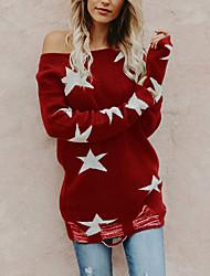 cheap -Women's Stylish Knitted Abstract Pullover Long Sleeve Sweater Cardigans Crew Neck Fall Winter Black Red