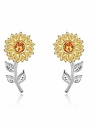 cheap -sunflower earrings sterling silver sunflower stud earrings for women girls