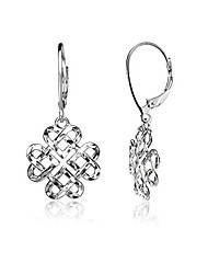 cheap -sterling silver diamond-cut celtic heart love knot leverback earrings
