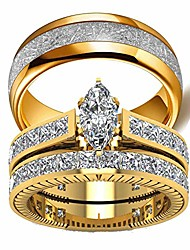 cheap -his hers couples rings women's 10k yellow gold filled white cz wedding engagement ring bridal men's titanium wedding band