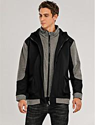 cheap -Men's Hoodie Zip Up Hoodie Color Block Daily Sports Going out Basic Hoodies Sweatshirts  Black Light gray Dark Gray
