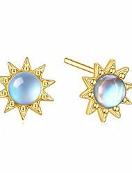 cheap -14k gold plated moonstone earrings, sterling silver synthetic moonstone stud earrings, sun stud earrings